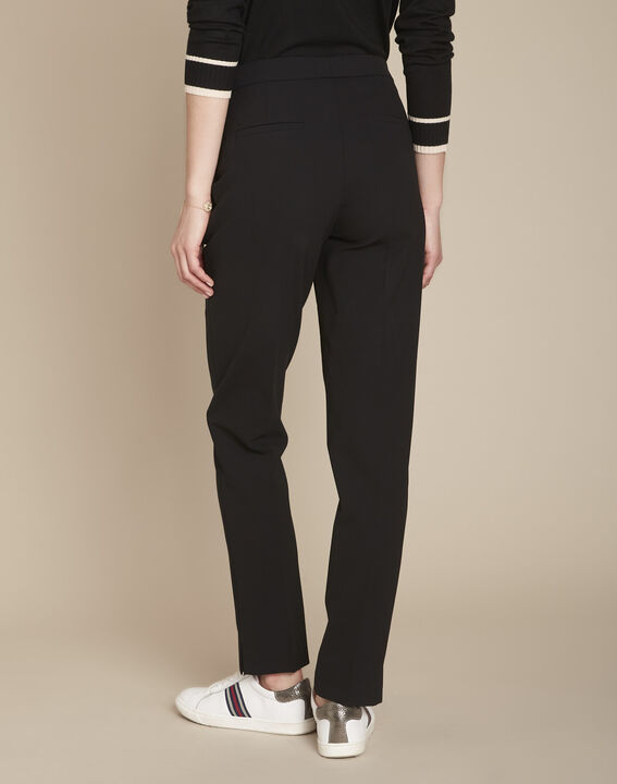 Lara black slim-cut microfibre trousers (4) - 1-2-3