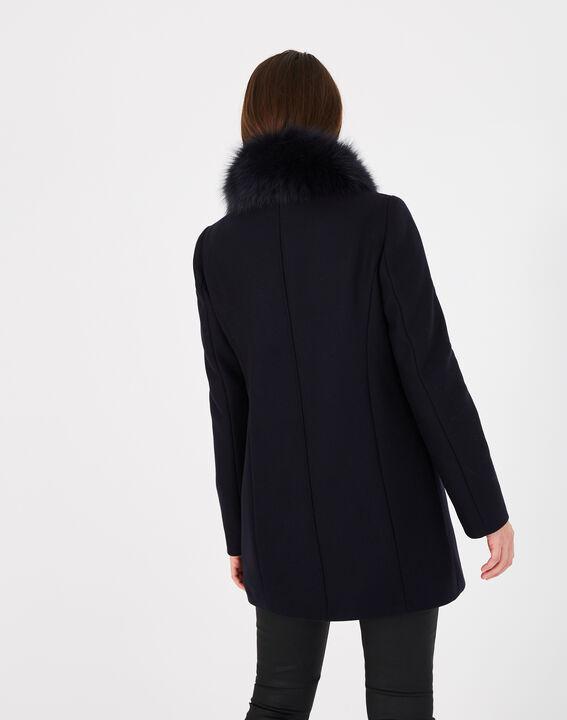 Oryanne navy wool-blend coat with fur collar (5) - 1-2-3