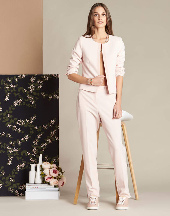 Lara nude slim-cut fitted trousers (2) - 1-2-3
