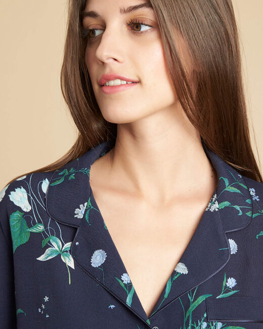 Grand navy blue floral blouse (2) - 1-2-3