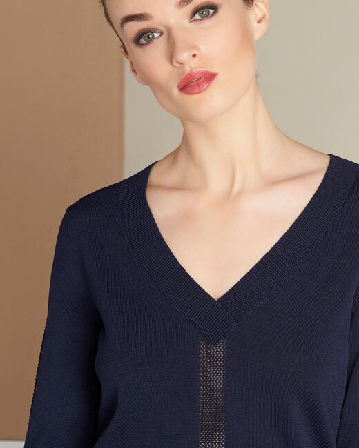 Nymphette navy blue V-neck sweater with spotted detailing (2) - 1-2-3