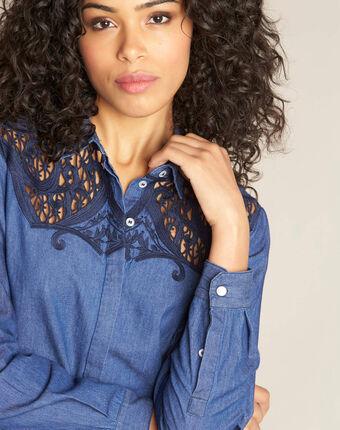 Garlene denim shirt with lace detailing dark indigo.