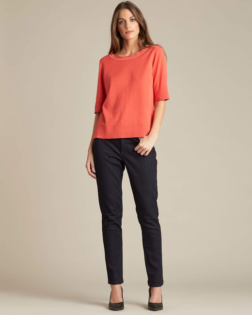 Nevada coral short-sleeved sweater in wool and silk (1) - 1-2-3