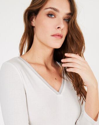 Tee-shirt écru col fantaisie neck ecru.