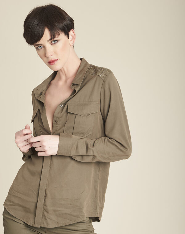 Cendrine soft khaki shirt with decorative shoulders (1) - 1-2-3