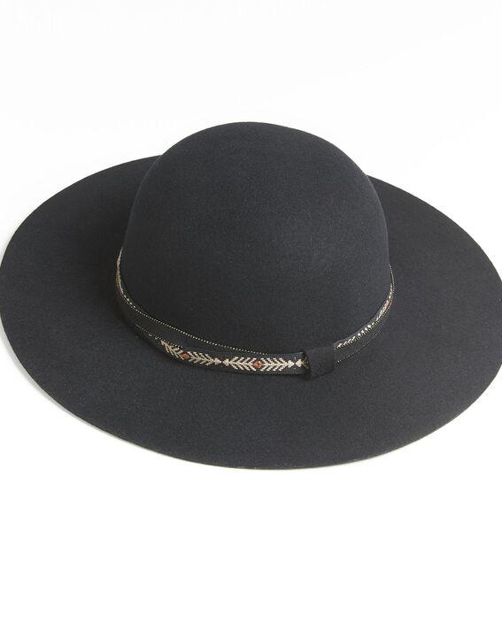 Ugo black felt wide brimmed hat with gem details (2) - Maison 123