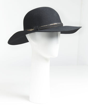 Ugo black felt wide brimmed hat with gem details black.