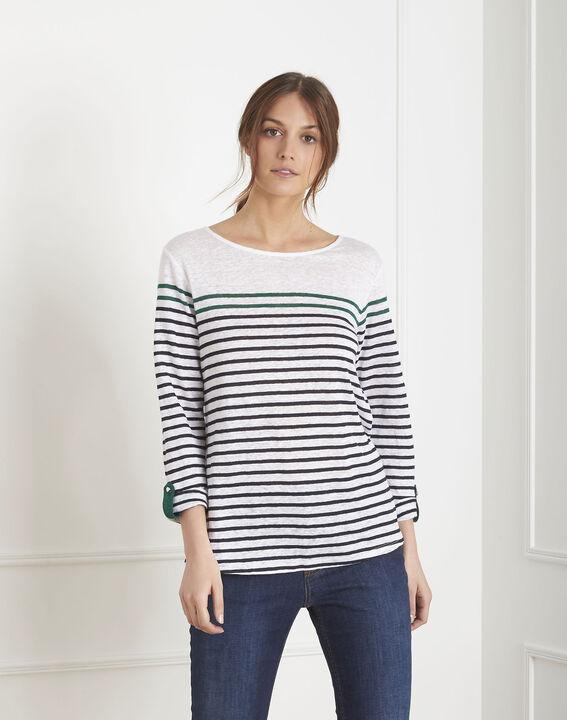 Tee-shirt blanc rayé en lin Pise (1) - Maison 123