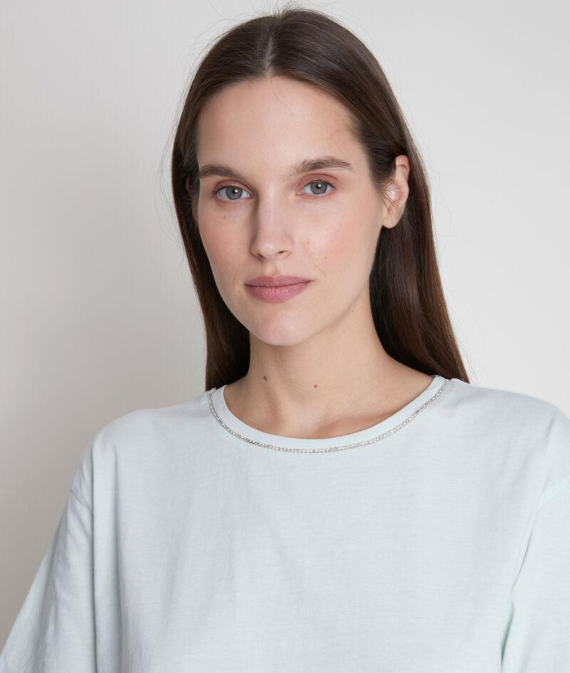 Tee-shirt en coton bio et col strassé jade Inox PhotoZ | 1-2-3