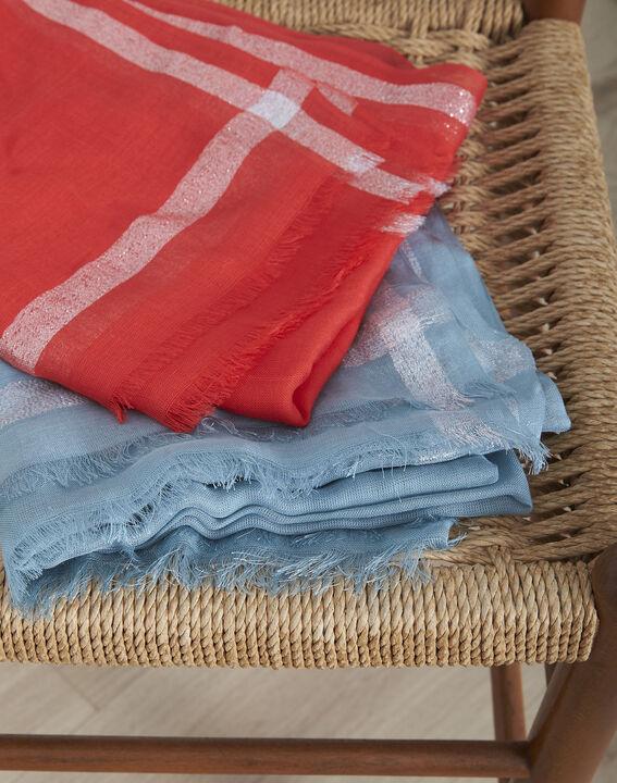 Foulard rouge en viscose détail lurex Orelia (3) - Maison 123