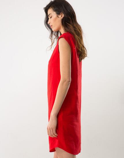 Bellini red linen dress (3) - 1-2-3