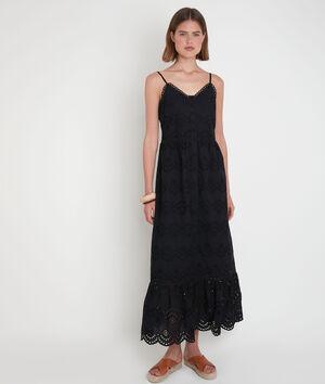 Robe longue en broderie anglaise noire LYS