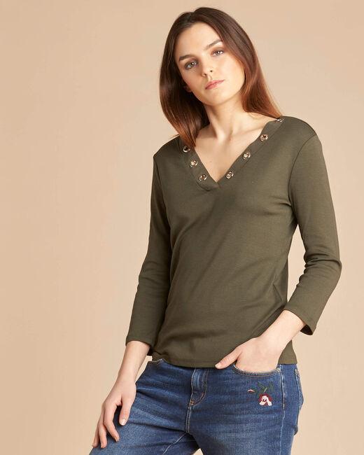 Tee-shirt kaki encolure à oeillets Basic (2) - 1-2-3