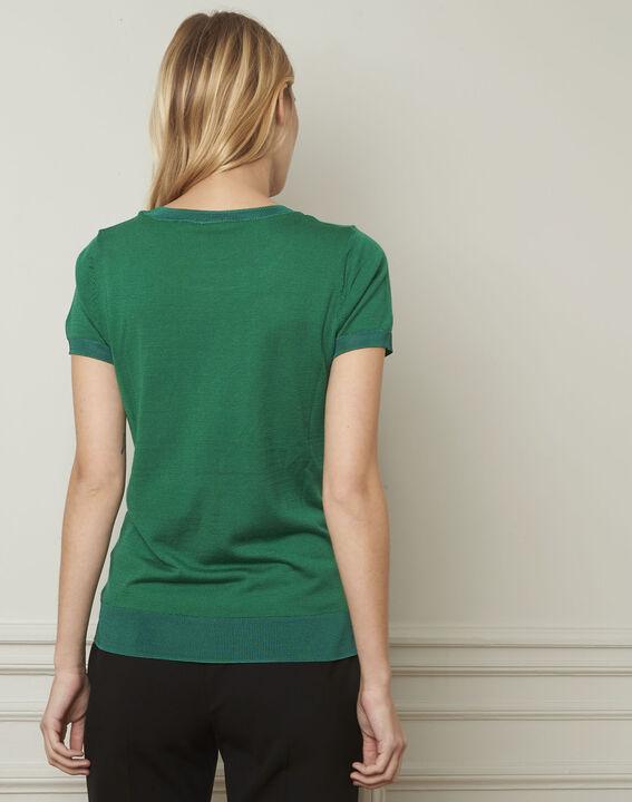 Grüner feiner Pulli mit kurzen Ärmeln Begonia (3) - Maison 123