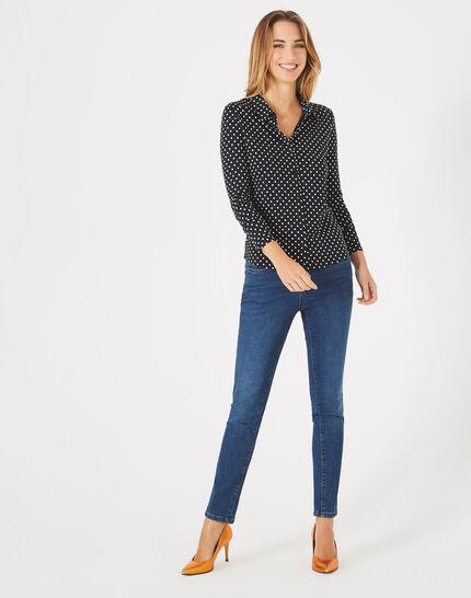 Laura navy blouse with polka-dot print  (1) - 1-2-3