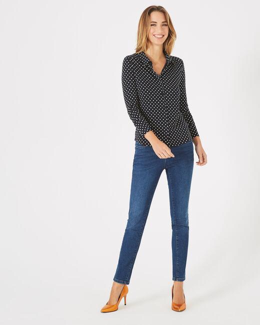 Laura navy blouse with polka-dot print  (2) - 1-2-3