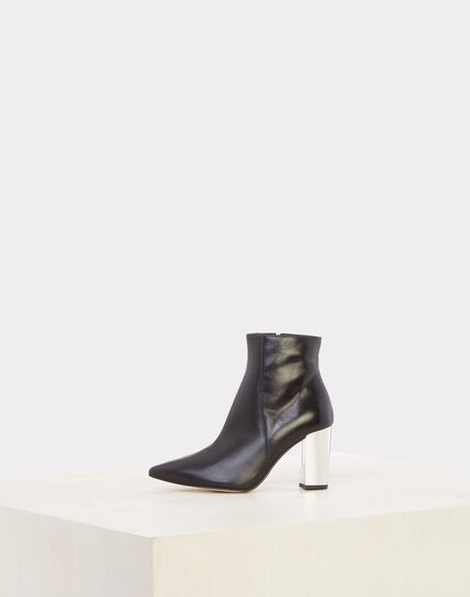 Noor black ankle boots with silver heels (2) - 1-2-3