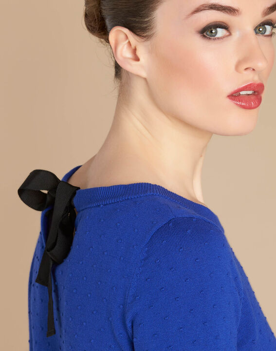 Nadia royal blue sweater with bow detail on the back PhotoZ | 1-2-3