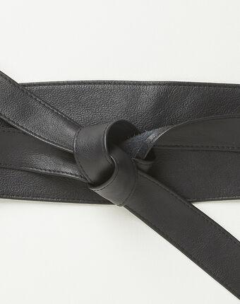 Ceinture large noire en cuir à nouer raul noir.