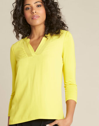 Anisgrünes t-shirt im materialmix mit netzstreifen am ausschnitt bianca anis.