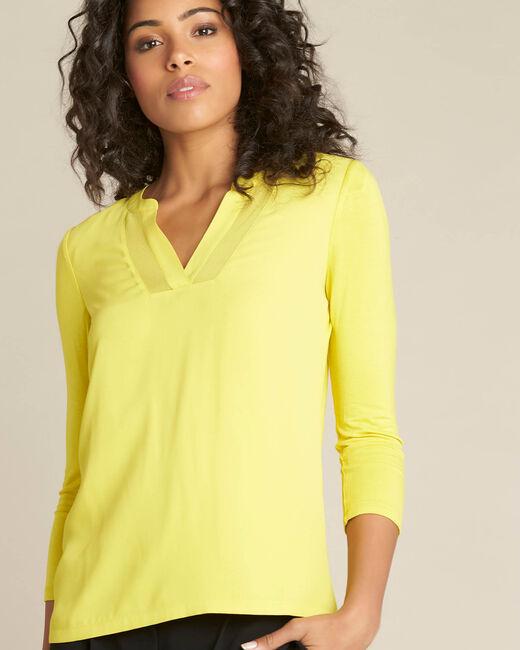 Tee-shirt anis bimatière col résille Bianca (2) - 1-2-3