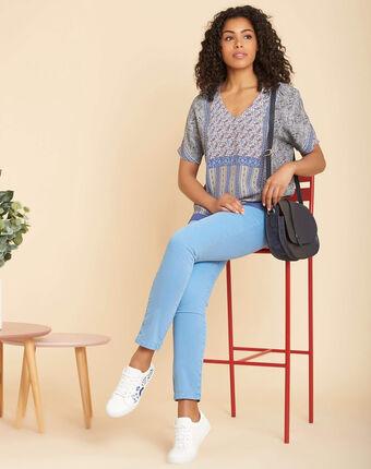 Blaue bluse mit print romy marineblau.
