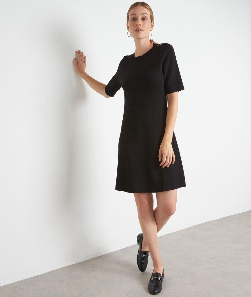 Robe en maille noire à manches courtes Shanaz PhotoZ | 1-2-3