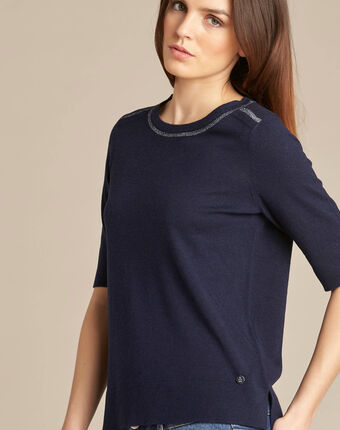 Nevada navy blue short-sleeved sweater in wool and silk navy.