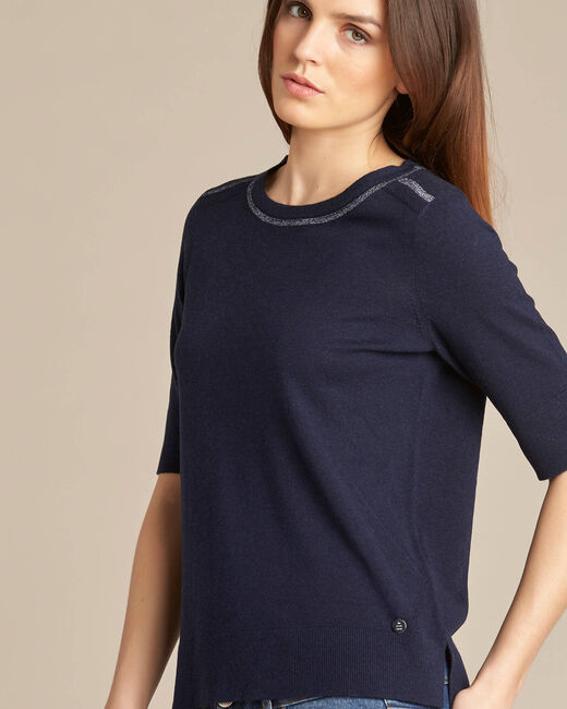 Nevada navy blue short-sleeved sweater in wool and silk (2) - 1-2-3