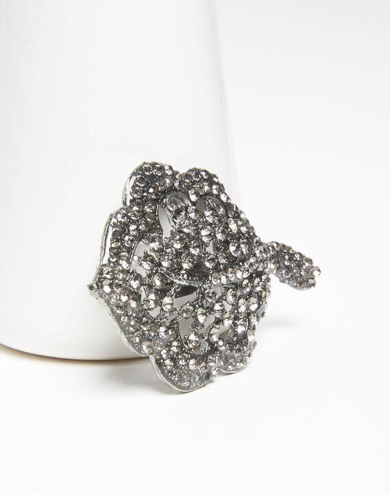 Xav silver leaf brooch with black stones (2) - 1-2-3