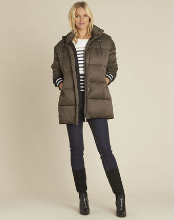 Pamela khaki hooded and quilted down jacket leaf.