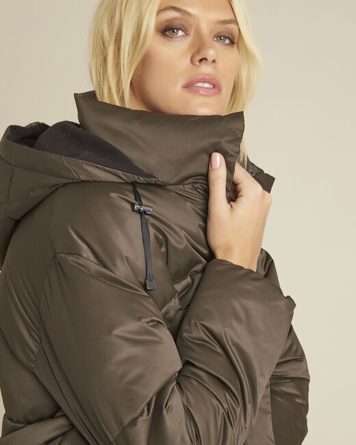 Pamela khaki hooded and quilted down jacket (2) - 1-2-3