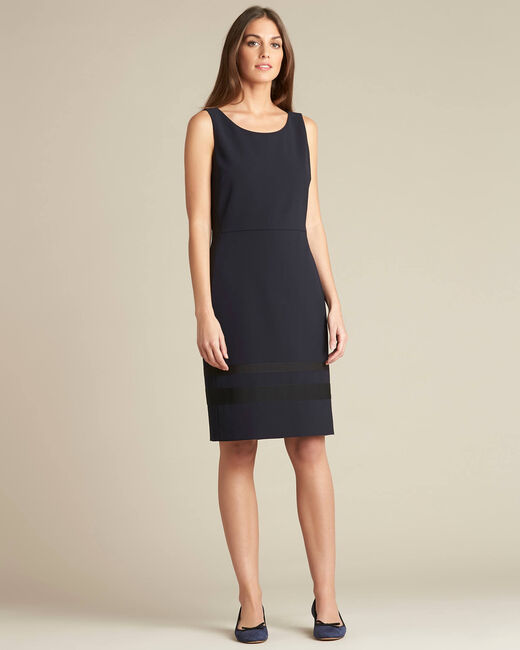 Abricot microfibre straight-cut navy dress (1) - 1-2-3