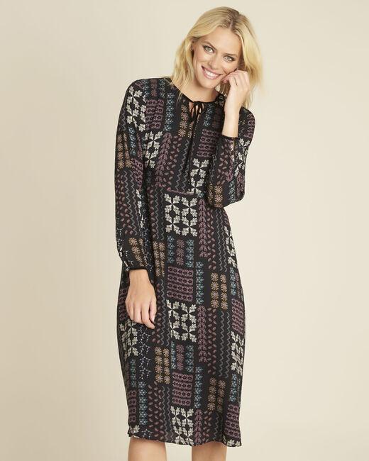 Dionne floral print dress with decorative neckline (2) - 1-2-3