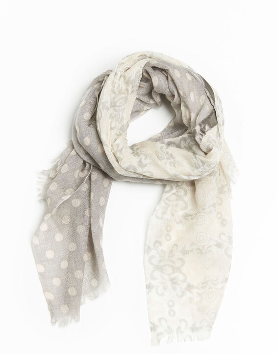 Fanny nude wool scarf with two prints  (1) - 1-2-3