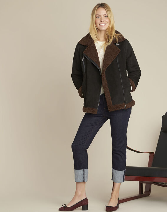 Black faux shearling jacket (2) - 1-2-3