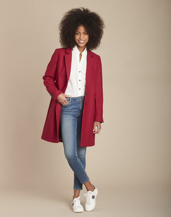 Plume red wool mix coat red.