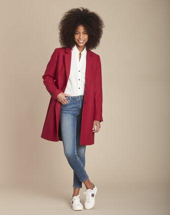 Manteau rouge en laine mélangée plume grenade.