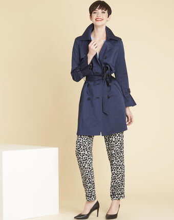 Elegant 3/4-length navy blue trench coat with contrasting trim navy.