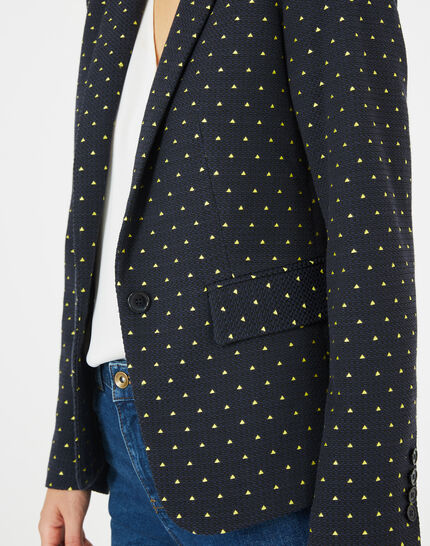 Mia navy blue printed tailored jacket (3) - 1-2-3