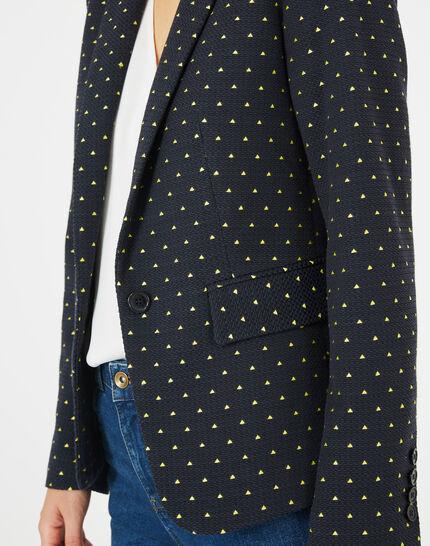 Veste de tailleur bleu marine imprimée Mia (3) - 1-2-3