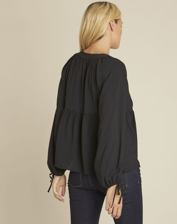 Cerise black blouse with embroidered neckline (4) - 1-2-3