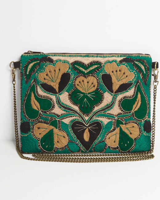 Danielle embroidered green shoulder bag with chain (2) - 1-2-3