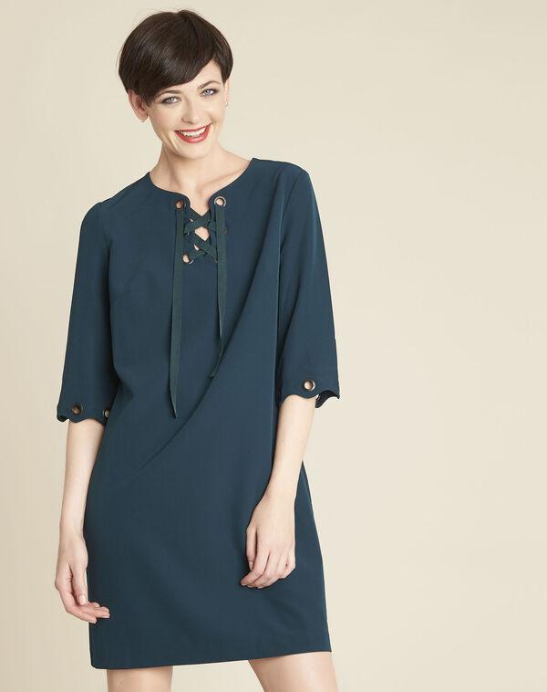 Donkergroene jurk met vetergaten Donatella (1) - 37653