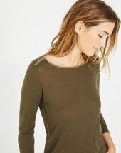 Pétillant khaki sweater with metallic threading kaki.