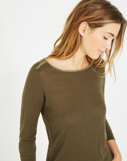 Pétillant khaki sweater with metallic threading PhotoZ | 1-2-3