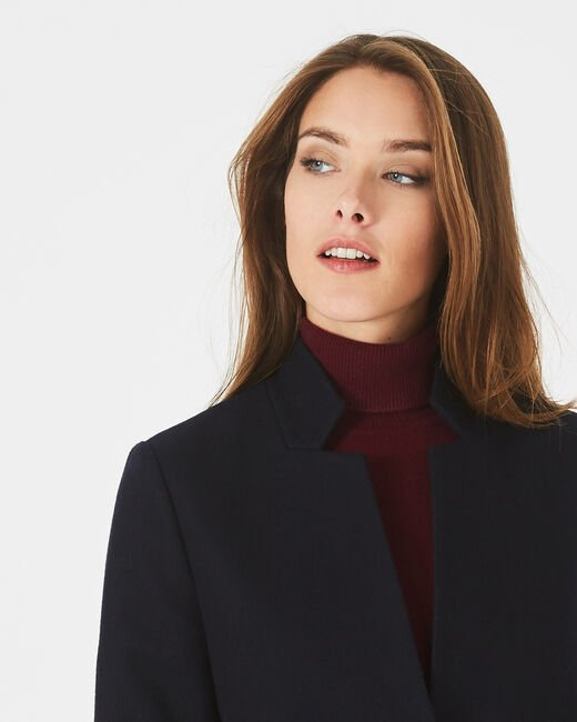 Java bis mid-length navy blue coat with notched collar (2) - 1-2-3