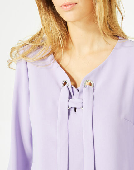 Domino lilac blouse with V-neck (3) - 1-2-3