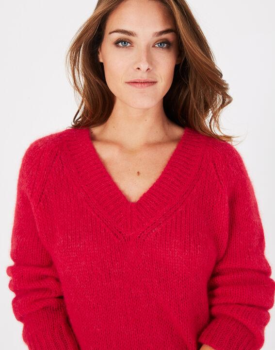 Roter Pullover mit V-Ausschnitt aus Mohair und Alpaka Paprika (3) - 1-2-3