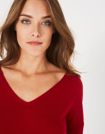 Piment red cashmere sweater with V-neck (3) - 1-2-3